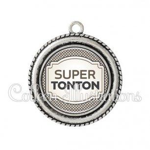 Pendentif résine Super tonton (013GRI01)