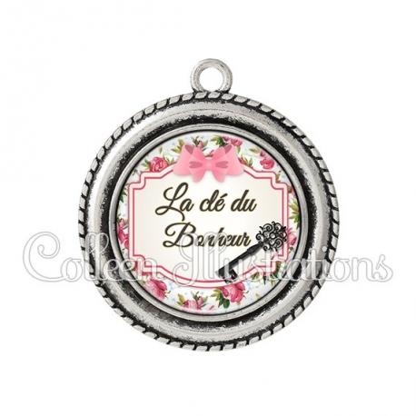 Pendentif résine Clé du bonheur (013MUL02)