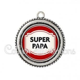Pendentif résine Super papa (013ROU04)