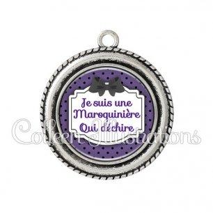 Pendentif résine Maroquinière qui déchire (013VIO01)