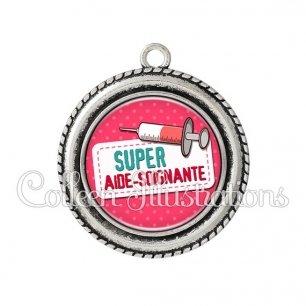 Pendentif résine Super aide-soignante (003ROS08)