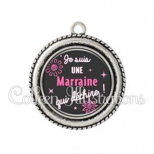 Pendentif résine Marraine qui déchire (014GRI01)