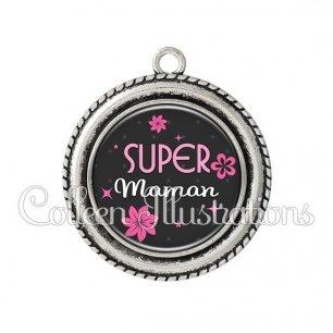 Pendentif résine Super maman (014GRI02)