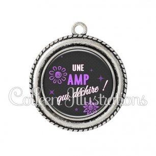 Pendentif résine AMP qui déchire (014GRI03)
