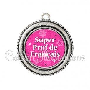 Pendentif résine Super prof de français (014ROS03)