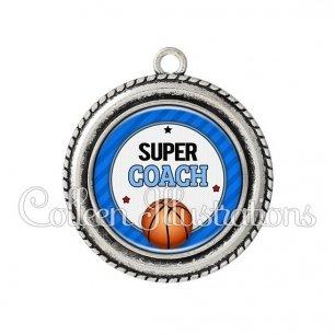 Pendentif résine Super coach (016BLE01)
