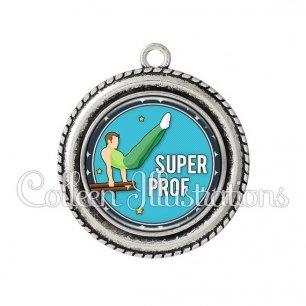 Pendentif résine Super prof (016BLE05)