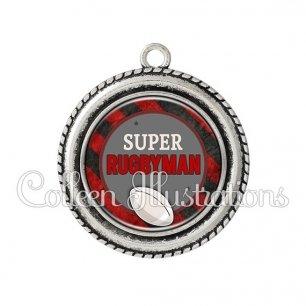 Pendentif résine Super rugbyman (016MUL03)