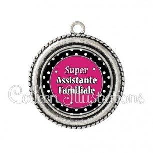 Pendentif résine Super assistante familiale (016NOI01)