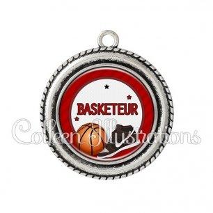 Pendentif résine Basketteur (016ROU04)