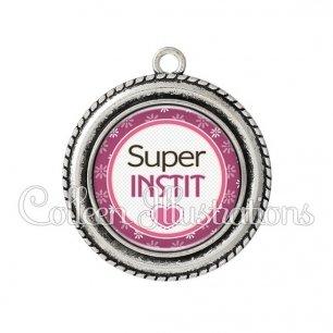 Pendentif résine Super instit (016VIO01)