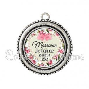 Pendentif résine Marraine je t'aime pour la vie (015MUL01)