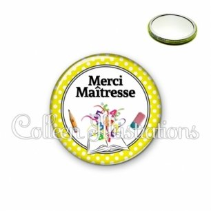 Miroir 56mm Merci maîtresse (001JAU04)