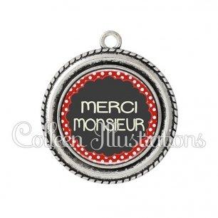 Pendentif résine Merci monsieur (017ROU03)