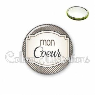 Miroir 56mm Mon cœur (013GRI01)