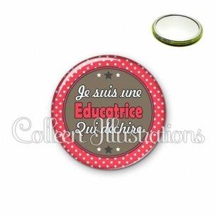 Miroir 56mm Educatrice qui déchire (016ROU01)