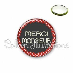 Miroir 56mm Merci monsieur (017ROU03)