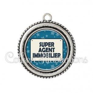 Pendentif résine Super agent immobilier (018BLE01)
