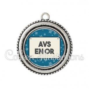 Pendentif résine AVS en or (018BLE01)