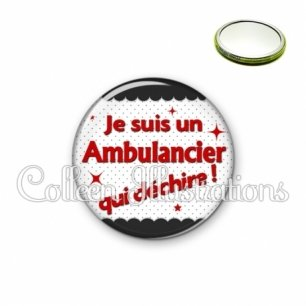 Miroir 56mm Ambulancier qui déchire (019NOI01)