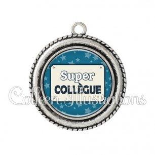 Pendentif résine Super collègue (018BLE01)