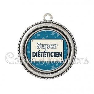 Pendentif résine Super diététicienne (018BLE01)