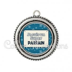 Pendentif résine Super parrain (018BLE01)