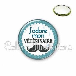 Miroir 56mm J'adore mon vétérinaire (028BLE04)