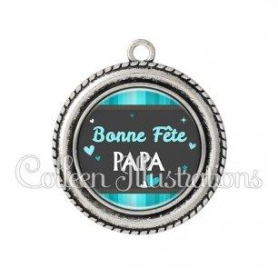 Pendentif résine Bonne fête papa (019BLE02)