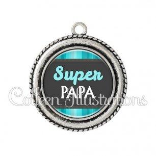 Pendentif résine Super papa (019BLE02)
