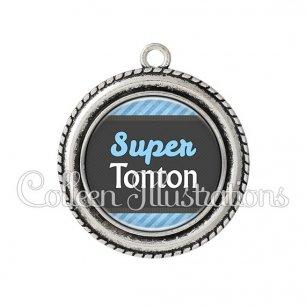 Pendentif résine Super tonton (019BLE05)