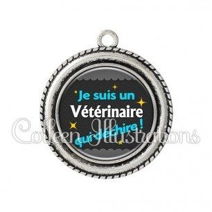 Pendentif résine Vétérinaire qui déchire (019GRI01)