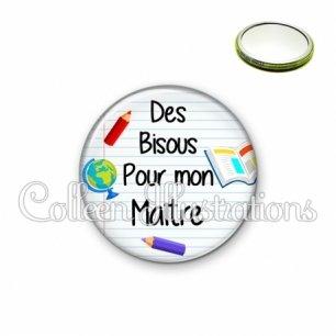 Miroir 56mm Des bisous pour mon maître (040BLA01)