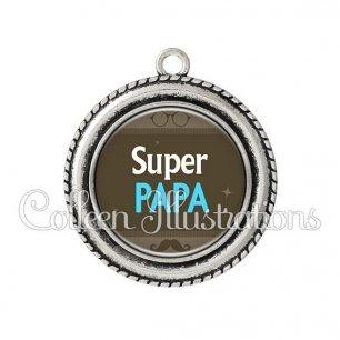 Pendentif résine Super papa (019MAR01)