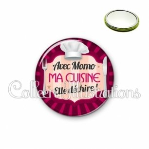 Miroir 56mm Avec momo ma cuisine elle déchire (048ROS01)