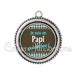 Pendentif résine Papi qui déchire (019MUL01)
