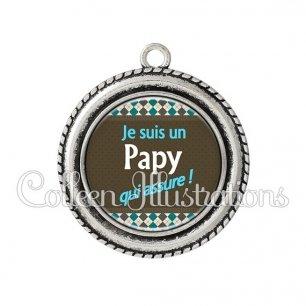Pendentif résine Papy qui assure (019MUL01)