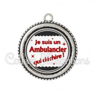 Pendentif résine Ambulancier qui déchire (019NOI01)