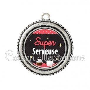 Pendentif résine Super serveuse (019ROS06)