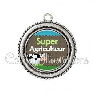 Pendentif résine Super agriculteur (019VER01)