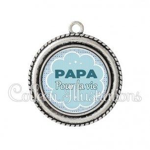 Pendentif résine Papa pour la vie (020BLE02)