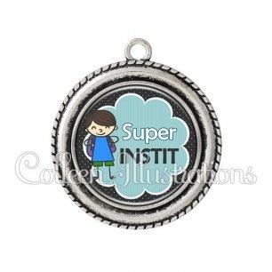 Pendentif résine Super instit (020NOI02)