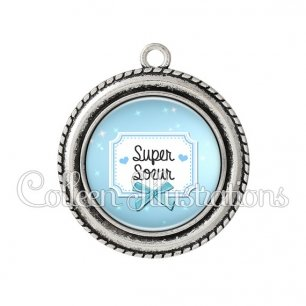 Pendentif résine Super sœur (023BLE06)