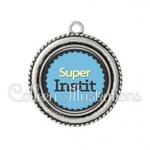 Pendentif résine Super instituteur (024BLE01)