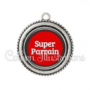 Pendentif résine Super parrain (024ROU01)