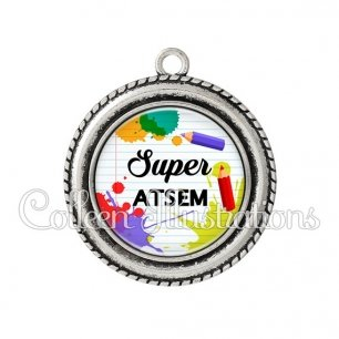 Pendentif résine Super ATSEM (026MUL01)