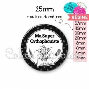 Cabochon en résine epoxy Ma super orthophoniste (001NOI02)