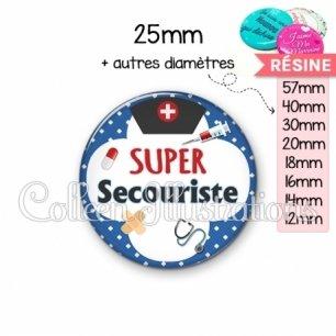 Cabochon en résine epoxy Super secouriste (002BLE01)