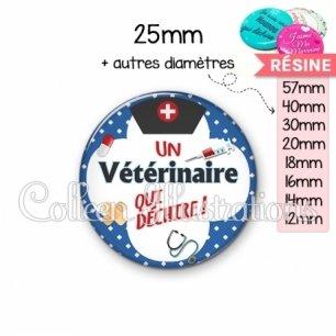 Cabochon en résine epoxy Vétérinaire qui déchire (002BLE01)