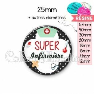 Cabochon en résine epoxy Super infirmière (002NOI01)